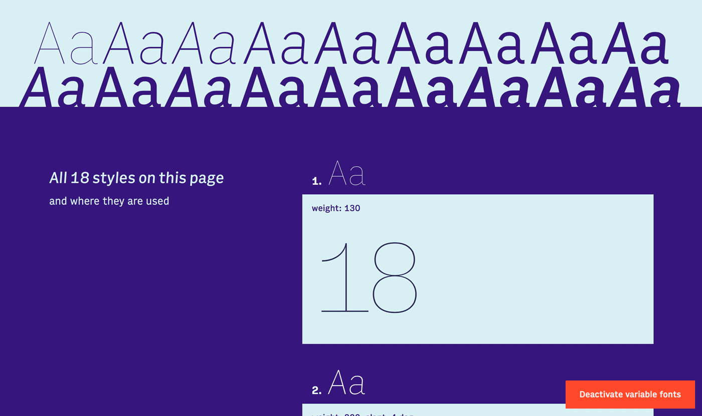 18 different font styles on the variable web typography browser demo site