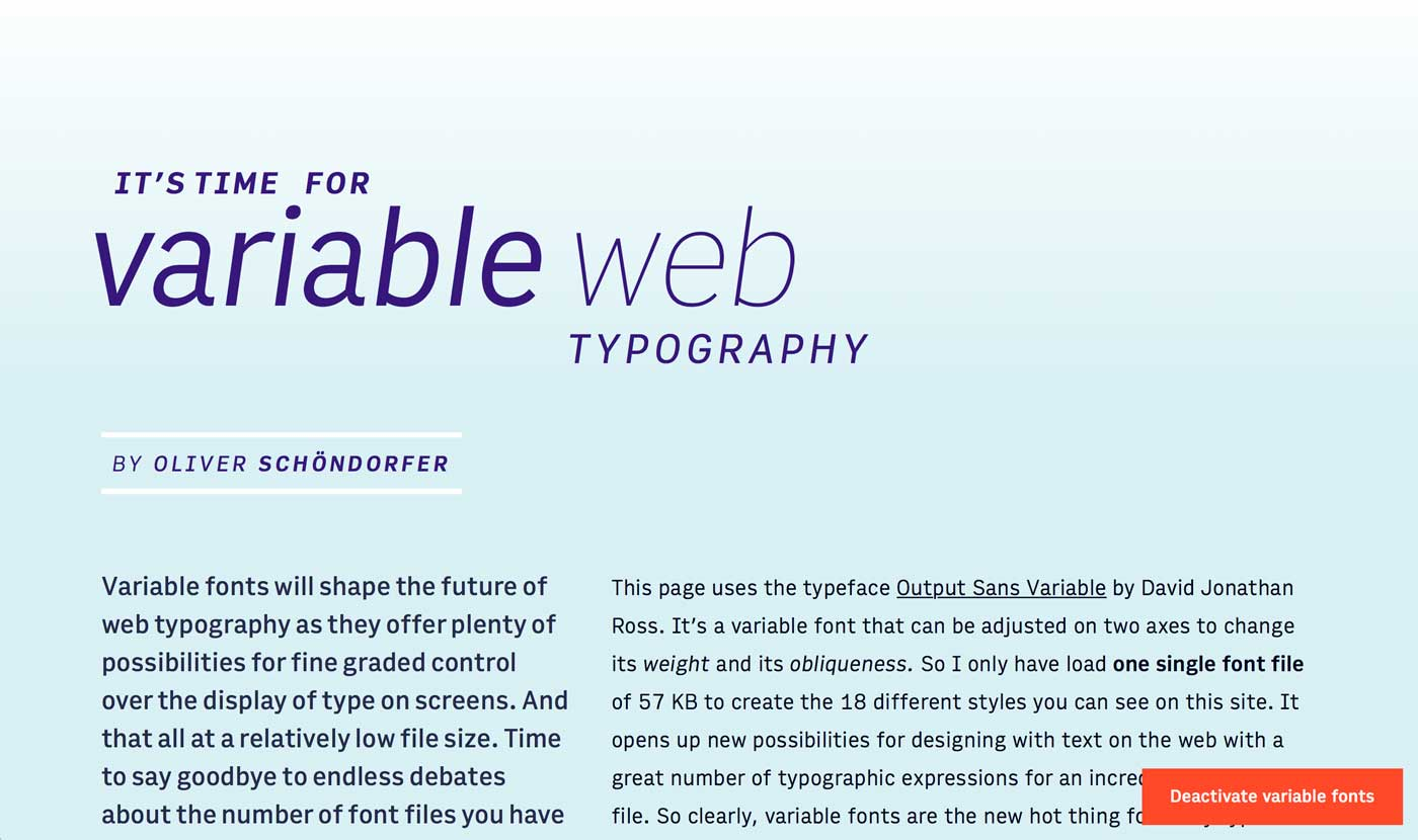 Variable Web Typography Browser Demo
