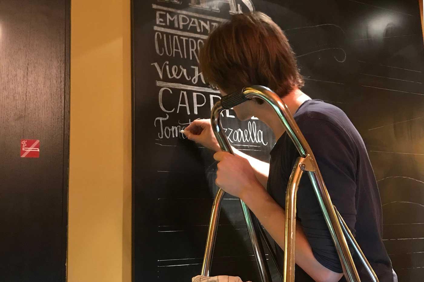 Lettering on a blackboard