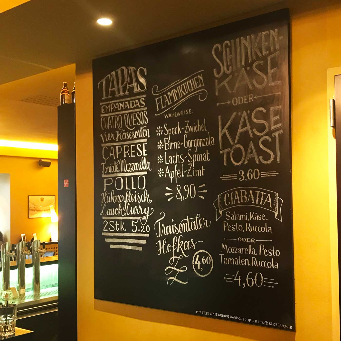 Finale result of the chalkboard lettering at Cinema Paradiso Baden