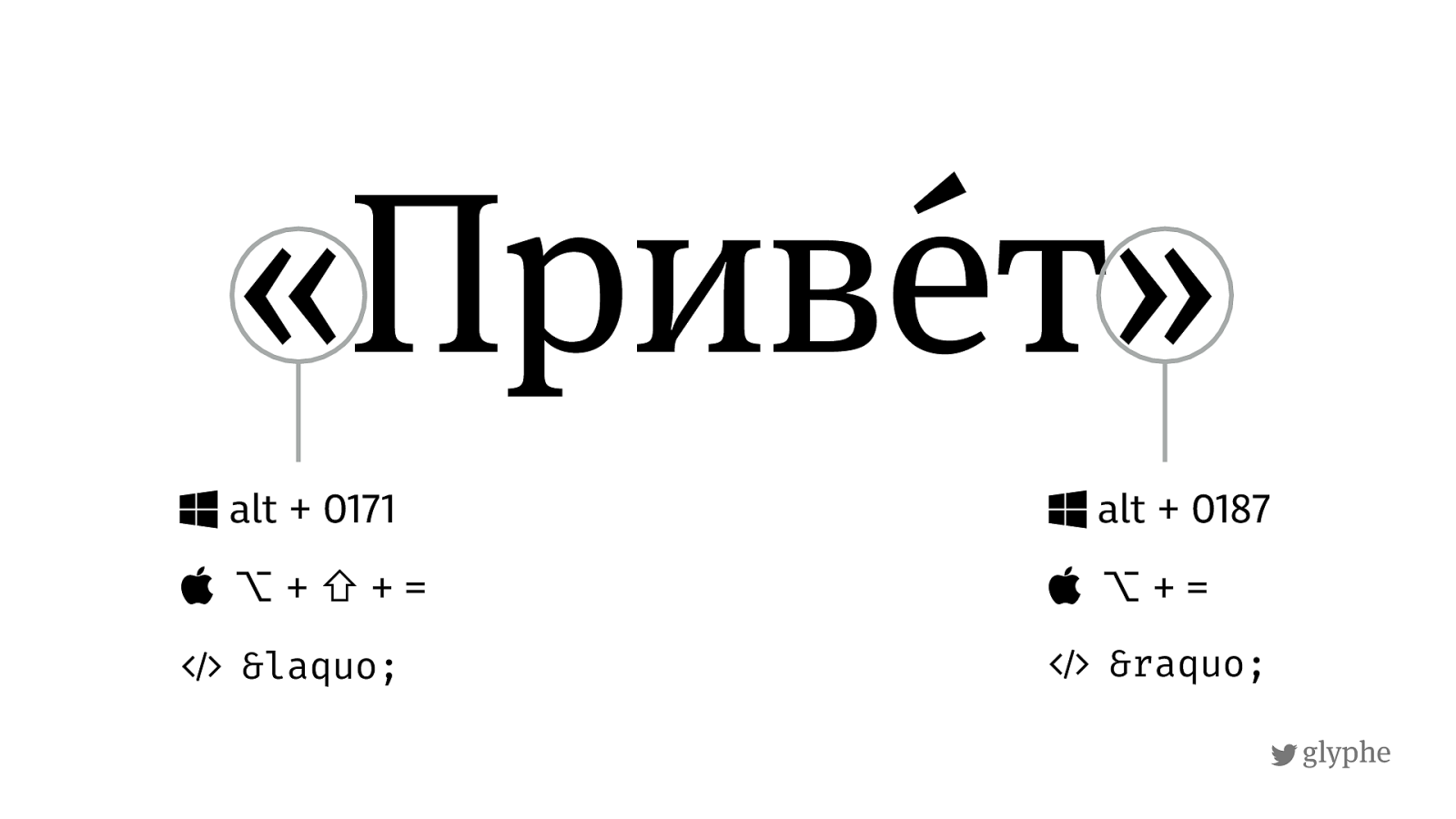 Russian quotes use Guillemets. Keyboard shortcuts for russian