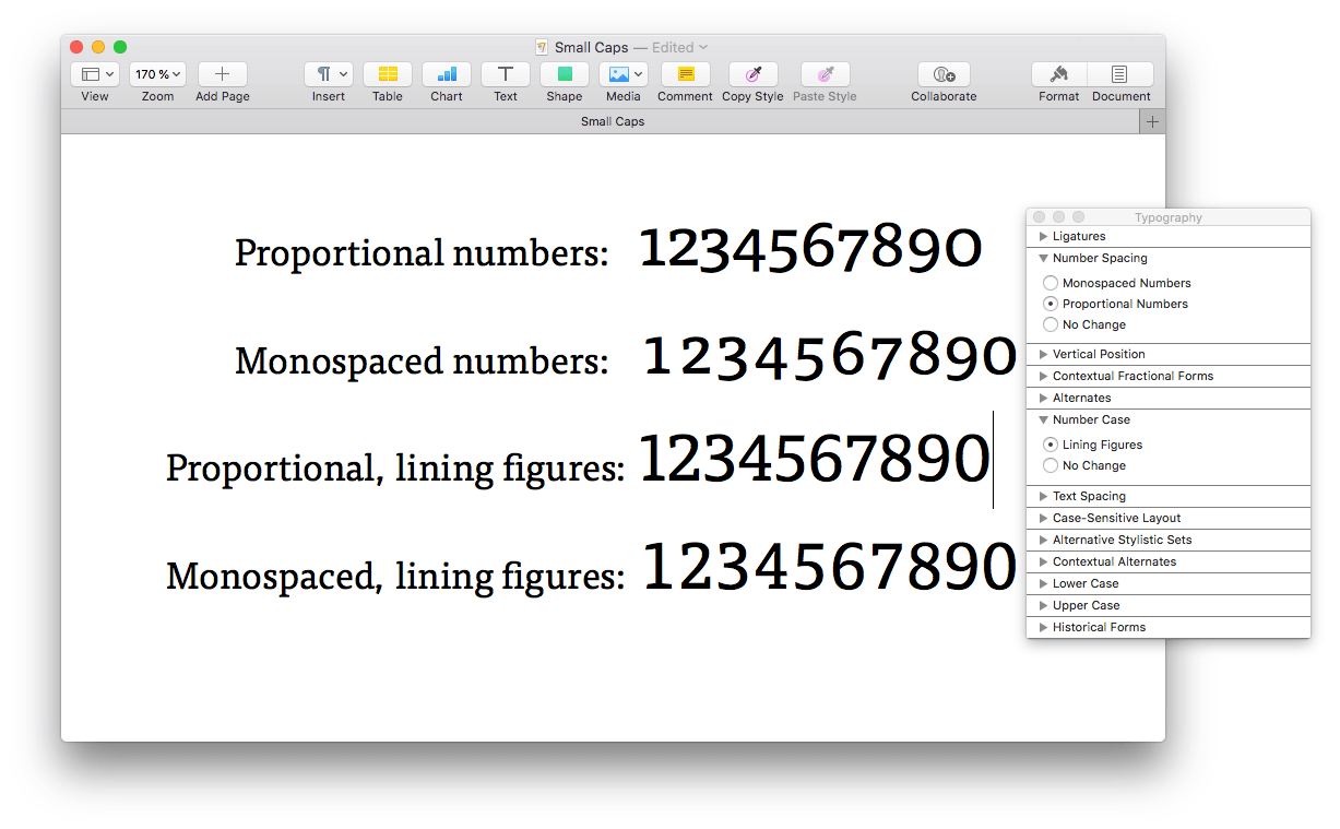 Accessing alternate figures and number spacings in Apple Pages