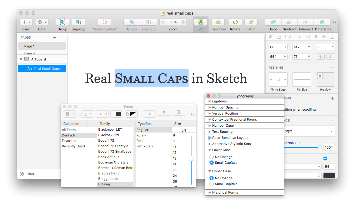 Accessing OpenType Features through the Fonts Window in Sketch