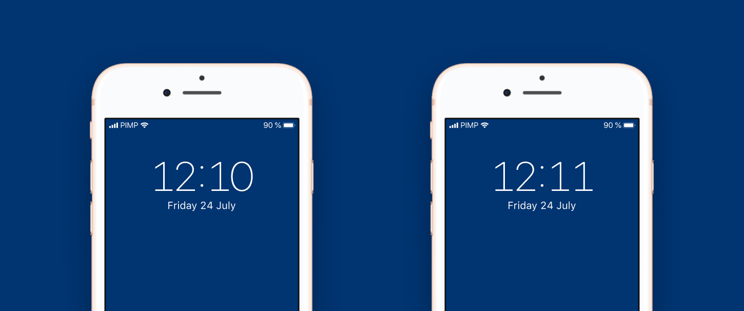 The iOS time display with tabular figures with an alternate 1