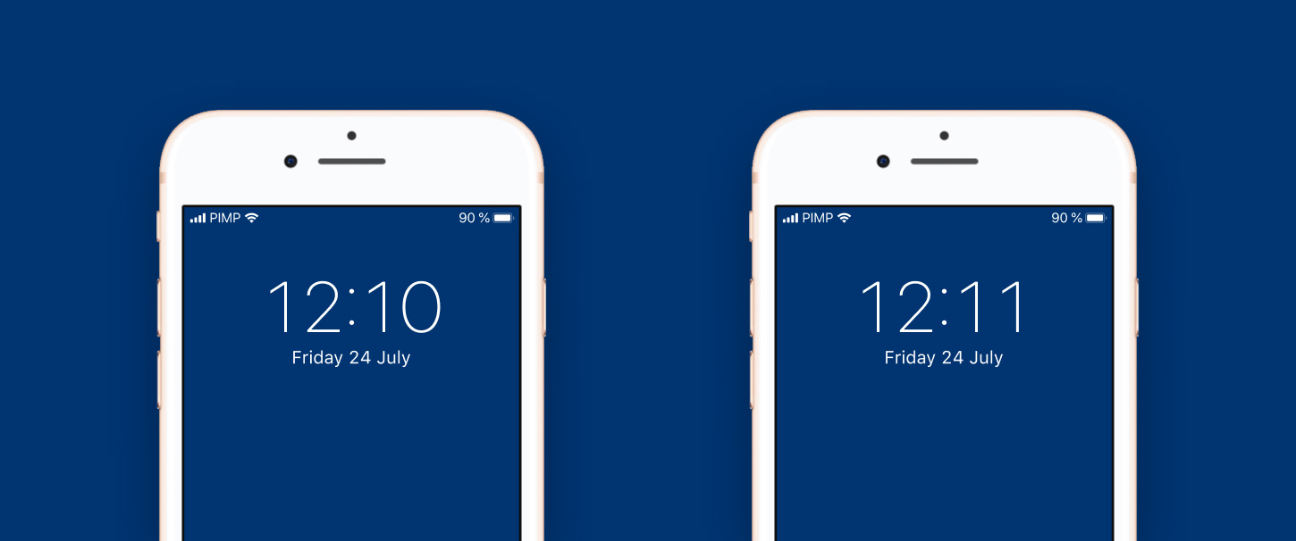 The iOS time display with tabular figures