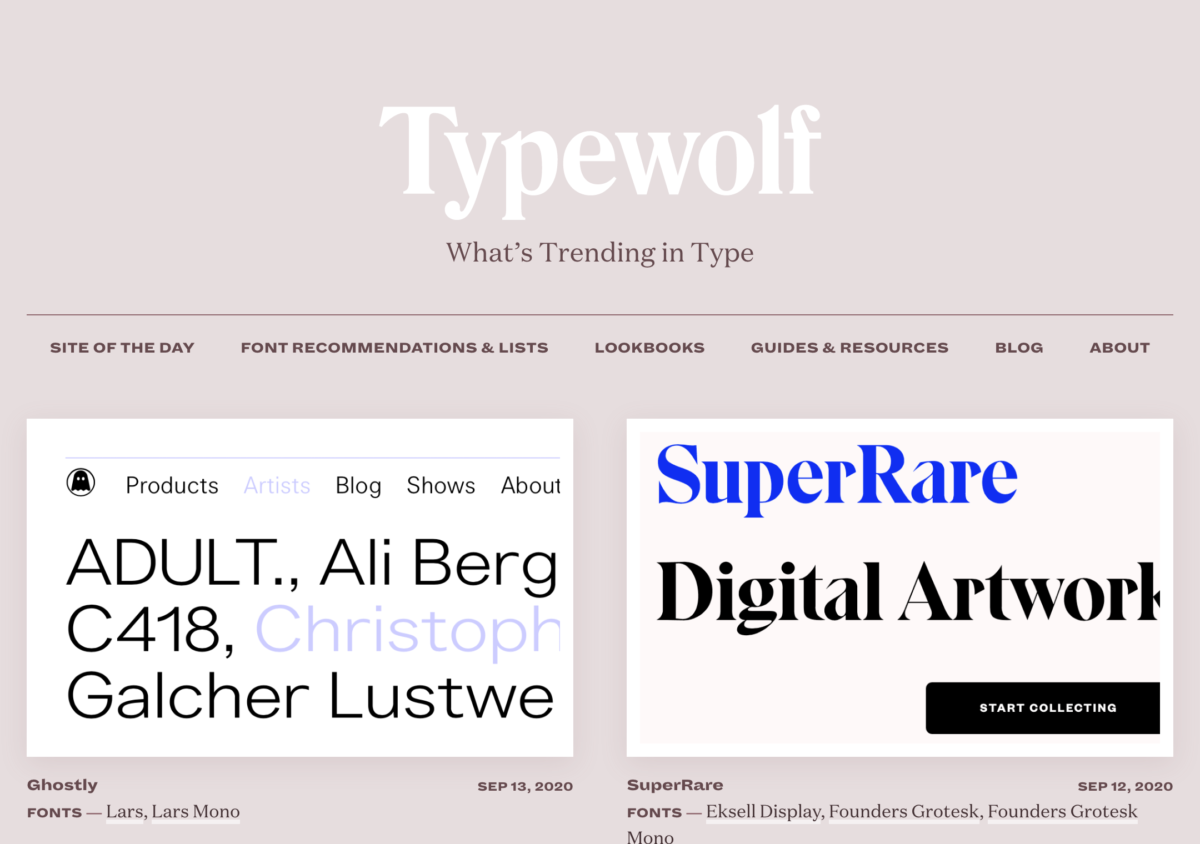 Typewolf – a webiste gallery