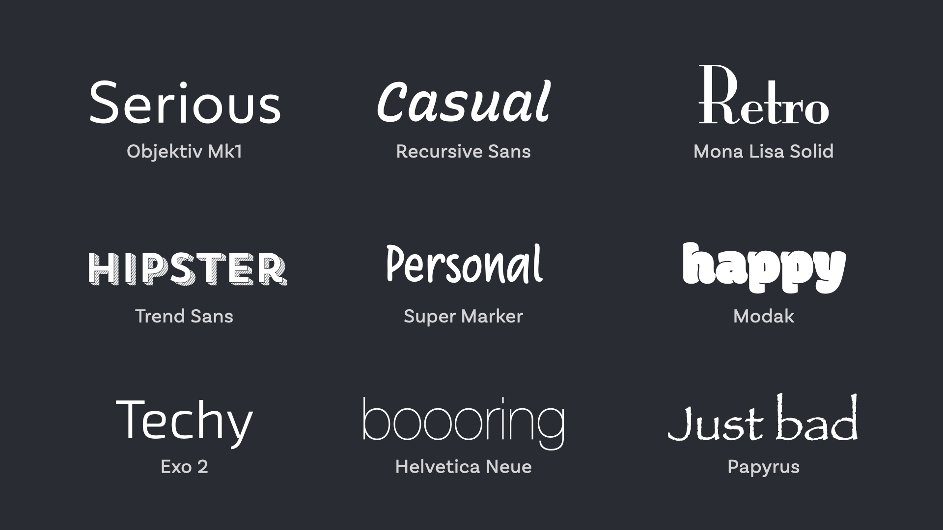Different fonts that convey a serious, casual or retro feeling.