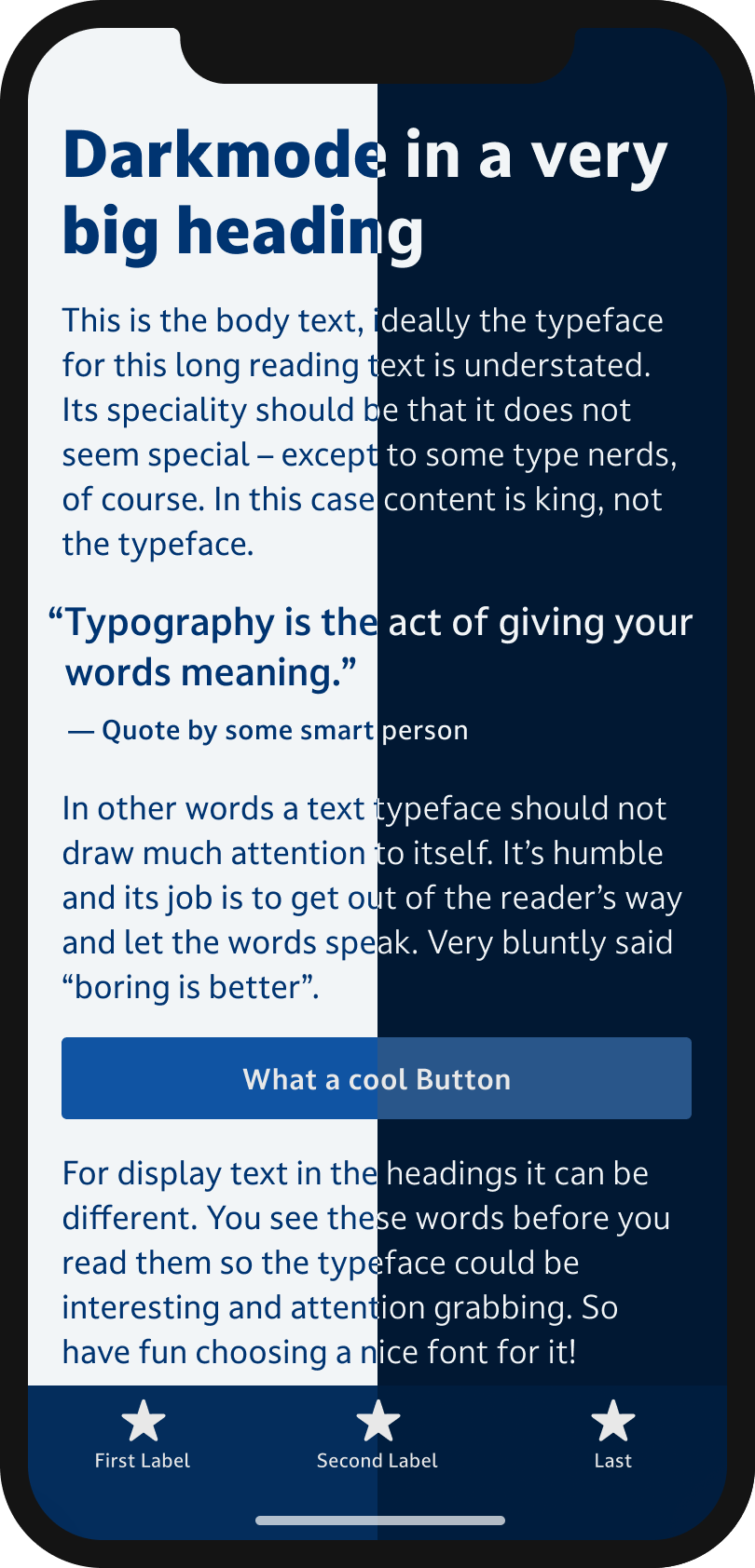 The typeface Darkmode on a mobile phone in a headline, body text, a pull quote and the labels of a button and navigation. Half of the phone is set dark text on light background, the other half is set in light text on dark background.