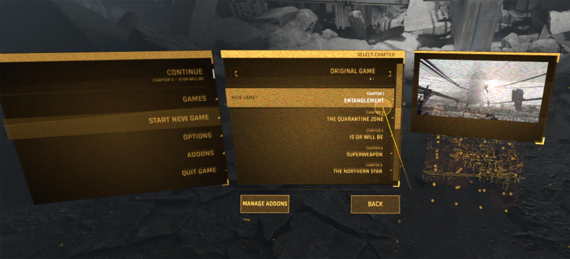 The Menu in  Half-Life Alyx VR shows two levels, the text ist set in capital letters in tiny sizes on a noisy background and extremely hard to read
