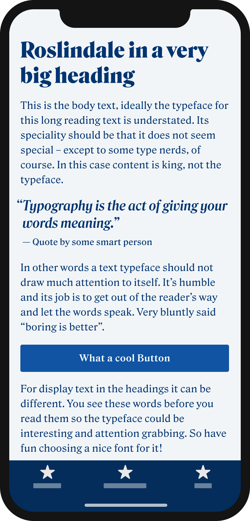 The serif typeface Rodlindale on a mobile phone in a headline, body text, a pull quote and a button.