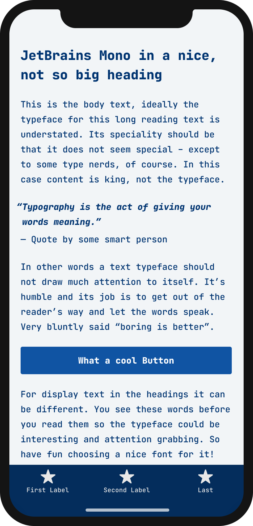 The monospace typeface JetBrains Mono on a mobile phone in a headline, body text, a pull quote and the labels of a button and navigation
