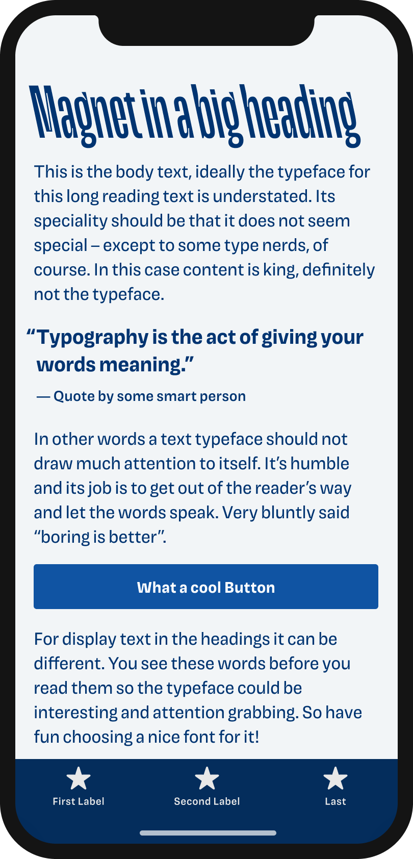 The typeface Magnet on a mobile phone in a headline, body text, a pull quote and the labels of a button and navigation