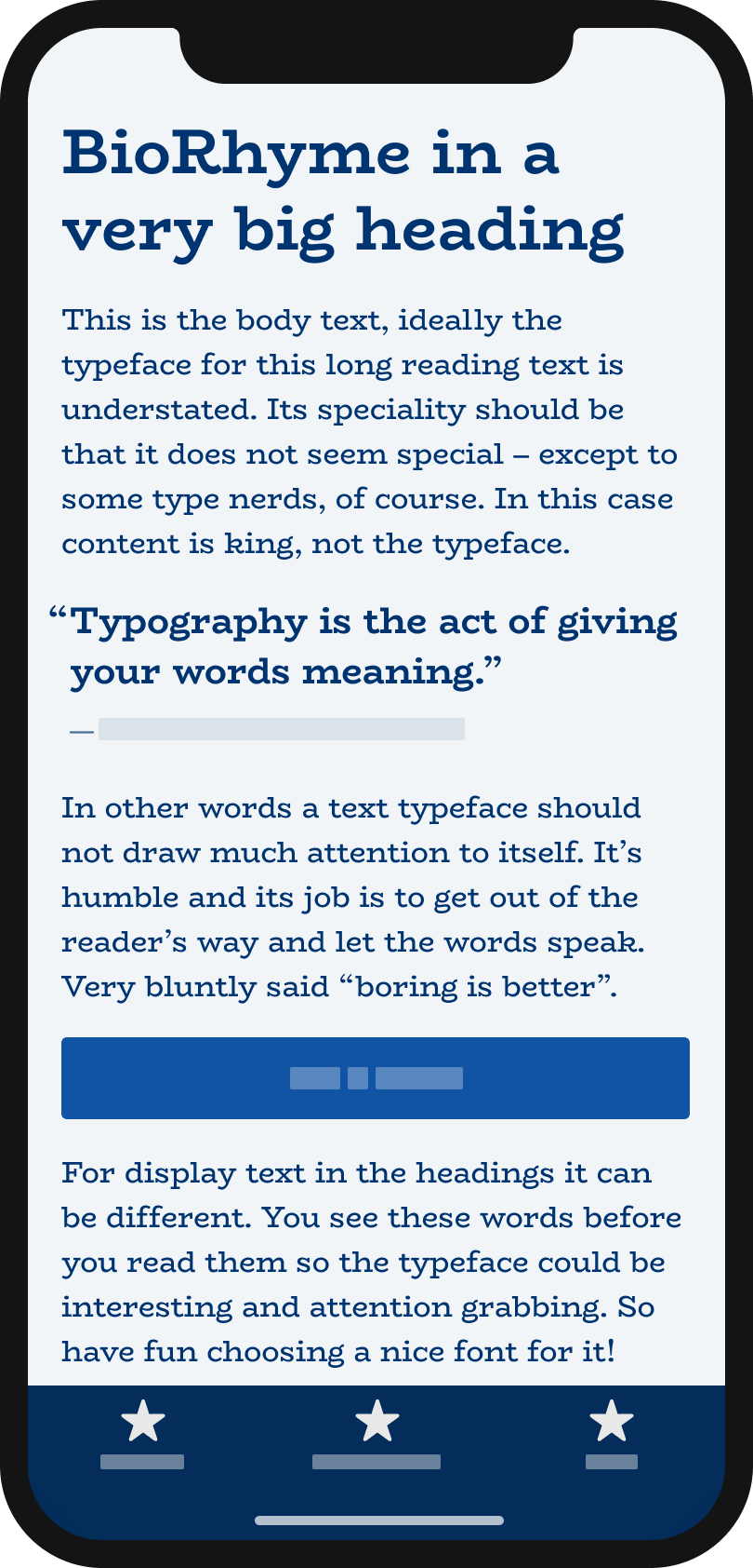 The typeface BioRhyme on a mobile phone in a headline, body text, a pull quote and the labels of a button and navigation