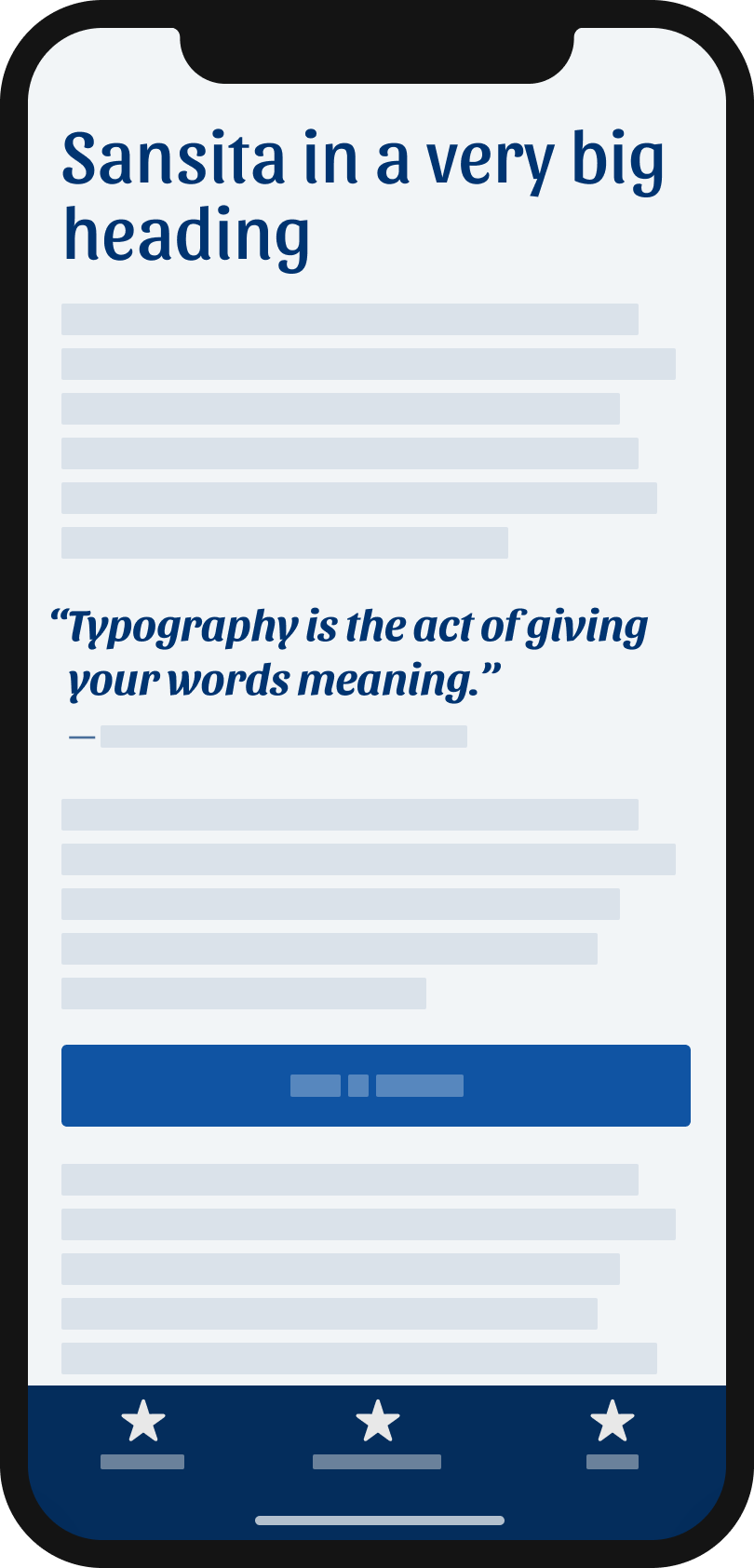 The typeface Sansita on a mobile phone in a headline, and pull quote