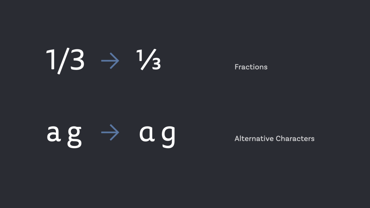 OpenType Features Fractions and Alternate Characters
