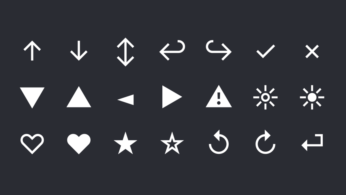 Various symbols like stars, triangles and arrows from the typeface Inter
