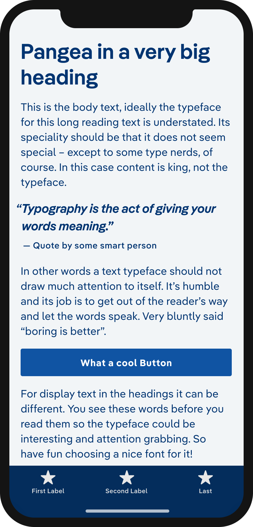 The typeface Pangea on a mobile phone in a headline, body text, a pull quote and the labels of a button and navigation