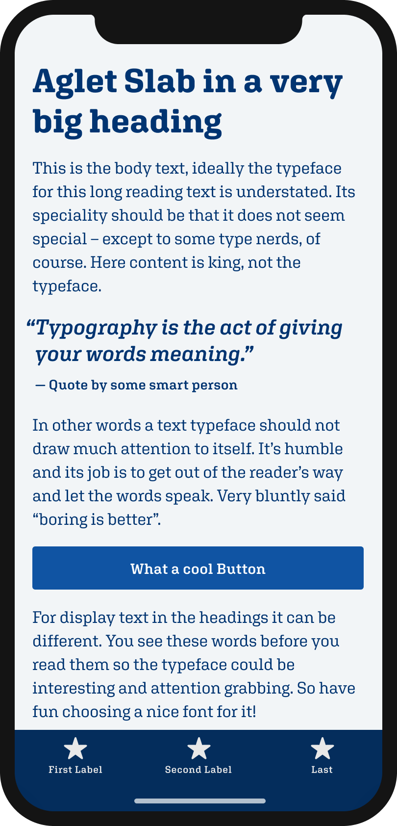 The slab serif typeface Aglet Slab on a mobile phone in a headline, body text, a pull quote and the labels of a button and navigation.