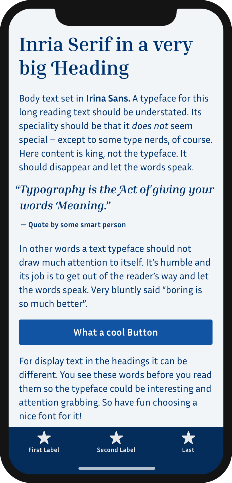 The typeface Irina Serif on a mobile phone in a headline and pull quote. The typeface Irina Sans in the body text, and the labels of a button and navigation.