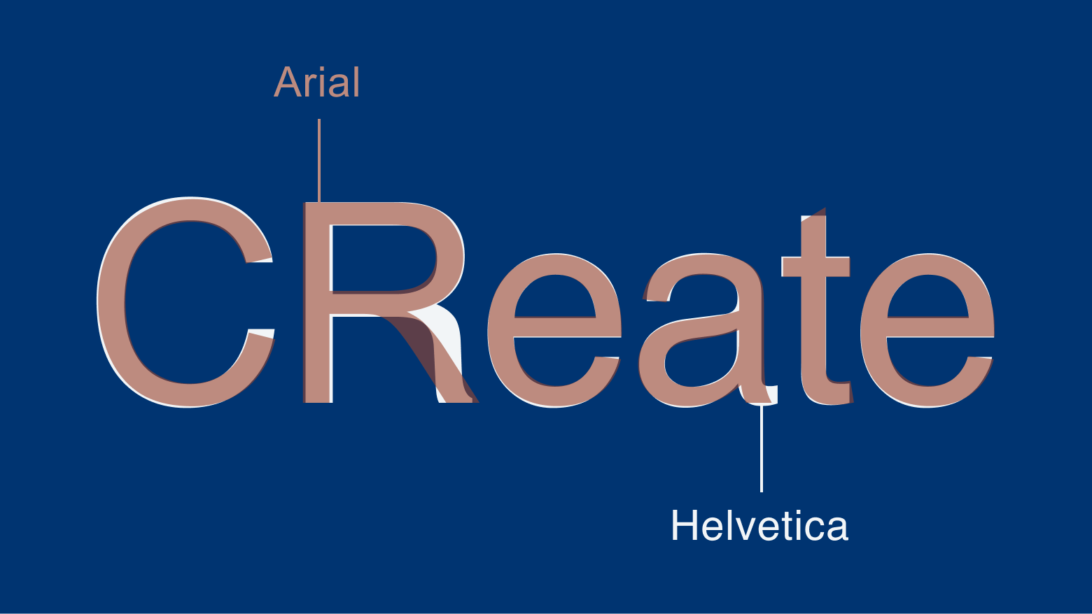 Create in Arial and Helvetica set, overlapping