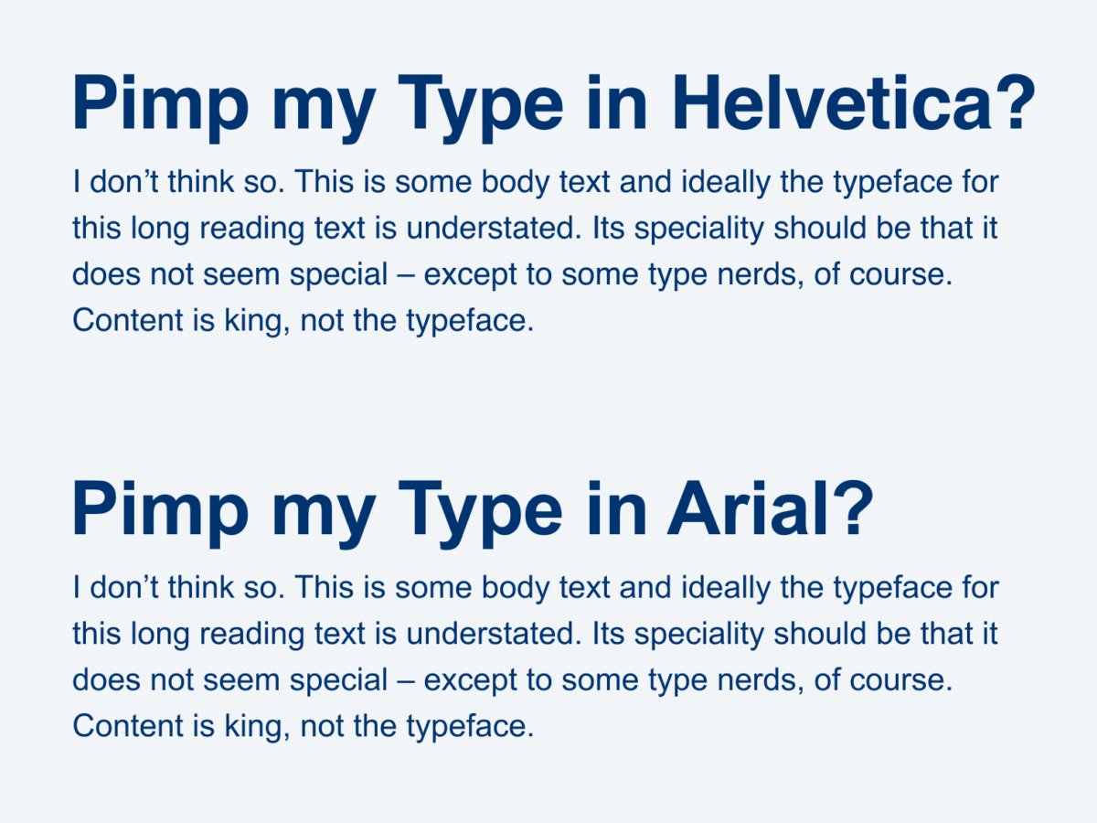 Long text set in Helvetica and Arial