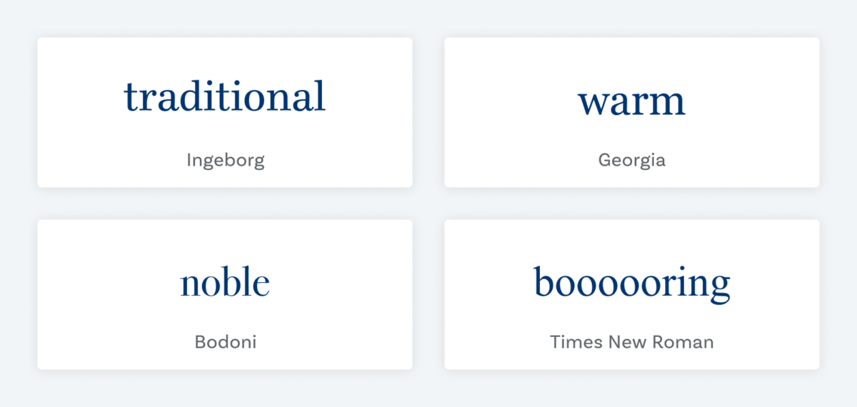 traditional set in Ingeborg, warm set in Georgia, noble set in Bodoni, and boring set in Times New Roman