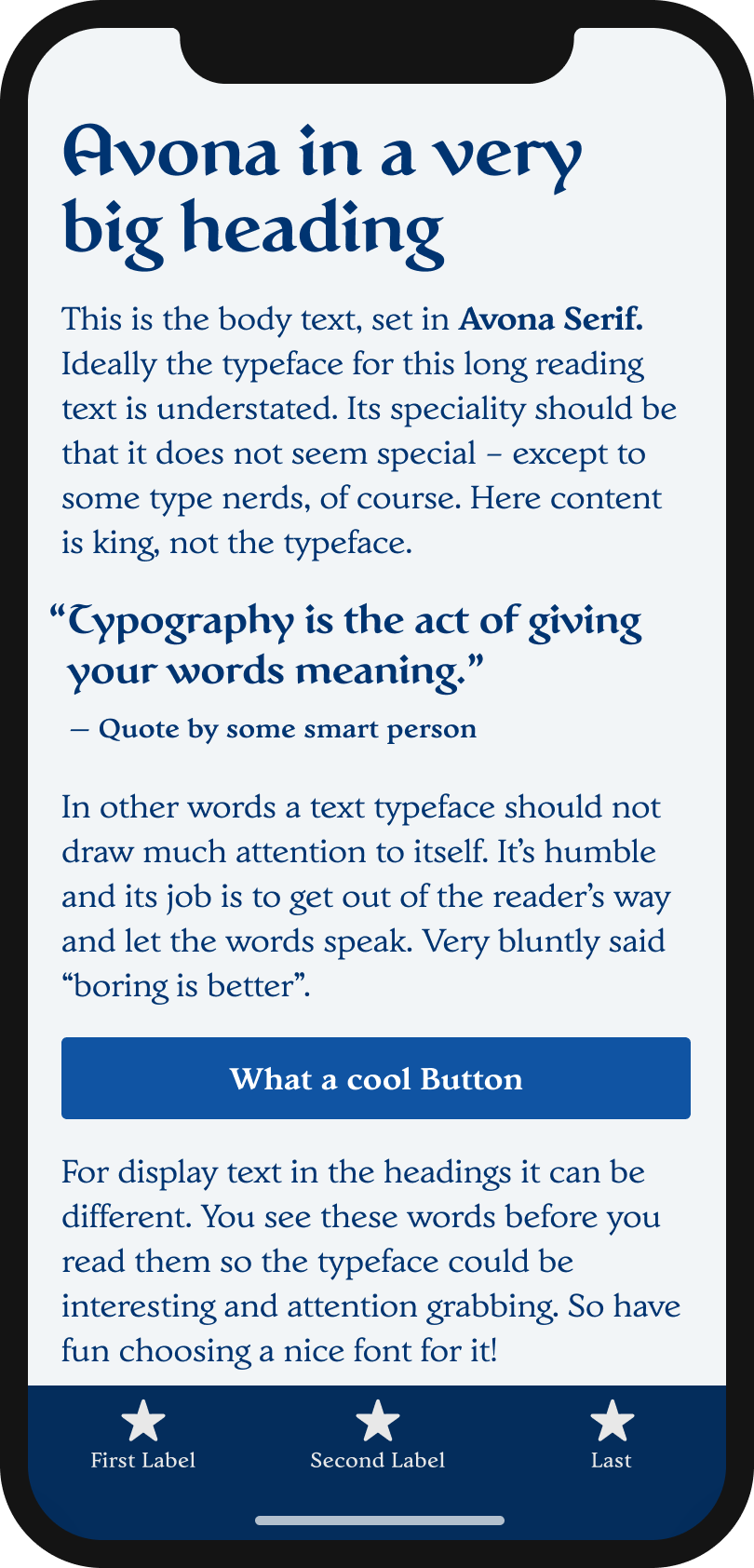The medieval looking serif typeface Avona and Avona Serifon a mobile phone in a headline and pull quote. The typeface Irina Sans in the body text, and the labels of a button and navigation.