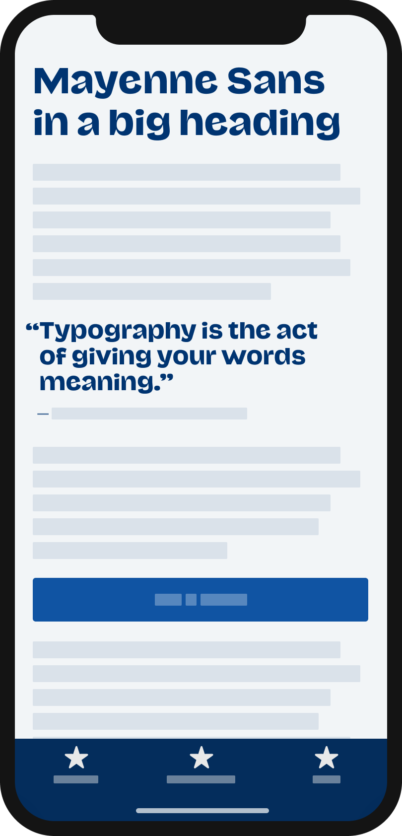The quirky contrasting sans seir typeface Mayenne Sans  on a mobile phone in a headline and pull quote.