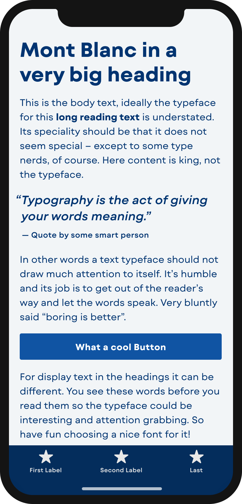 The geometric looking sans-serif typeface Mont Blanc a mobile phone in a headline and pull quot, the body text, and the labels of a button and navigation.