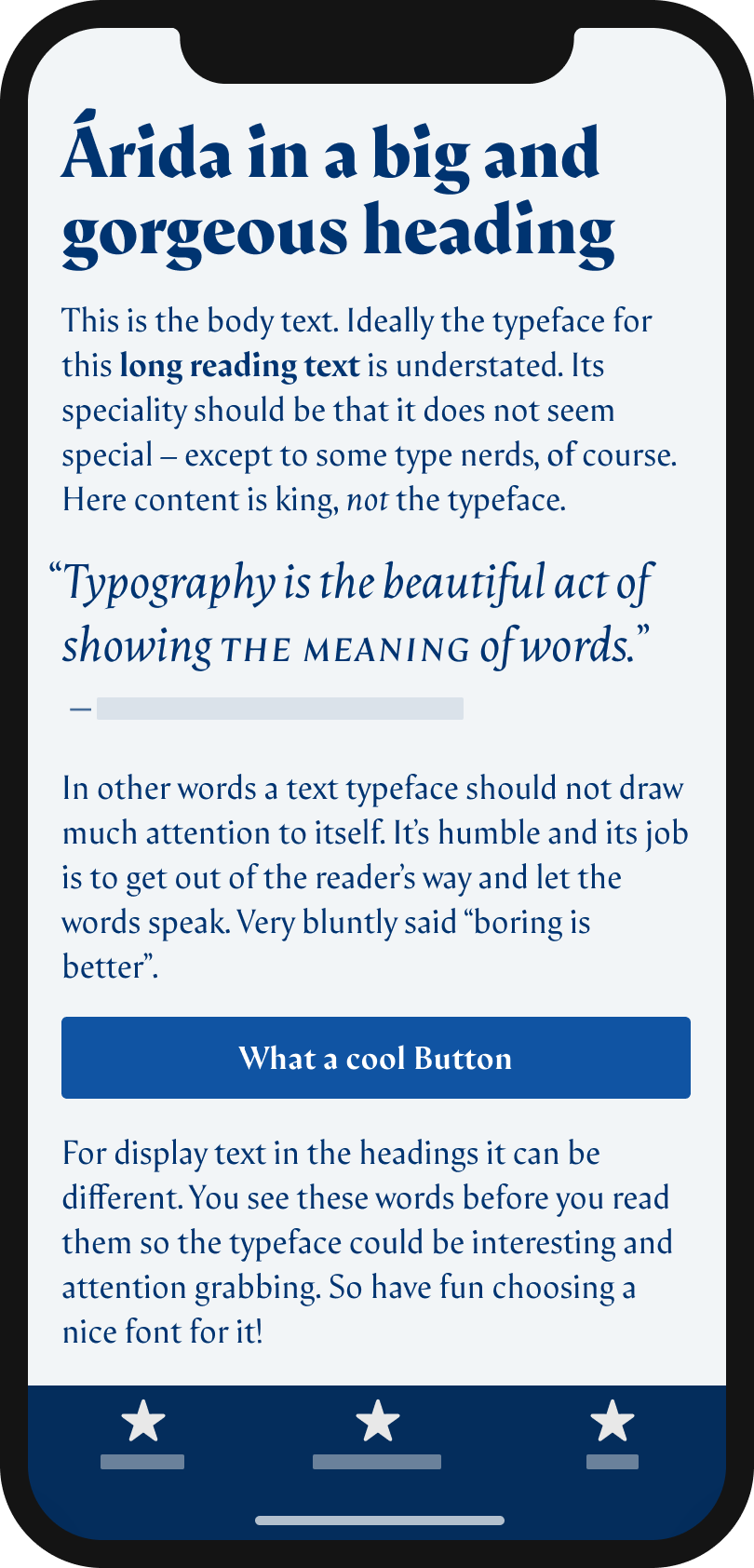 The calligraphic looking serif typeface Árida on a mobile phone in a headline and pull quote, the body text, and the label of a button.