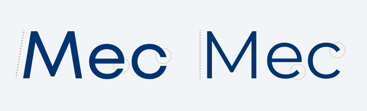 A comparisson of the letters M, e, and c. Both set in Mont Blanc and Montserrat.