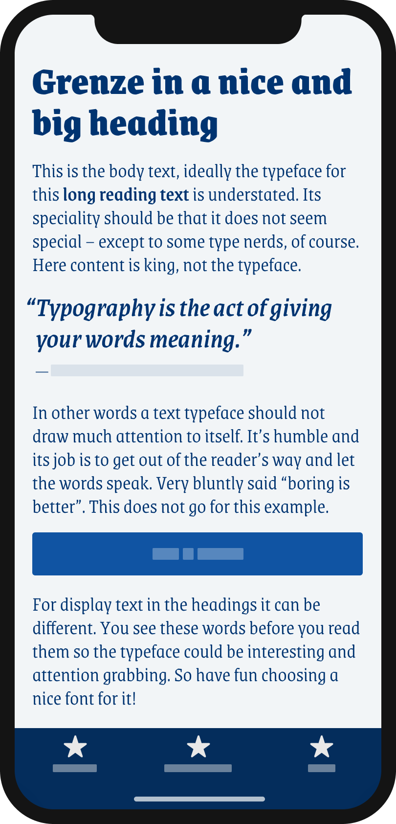 The Blackletter themed looking display typeface Grenze on a mobile phone in a headline and pull quote, the body text, and the label of a button.