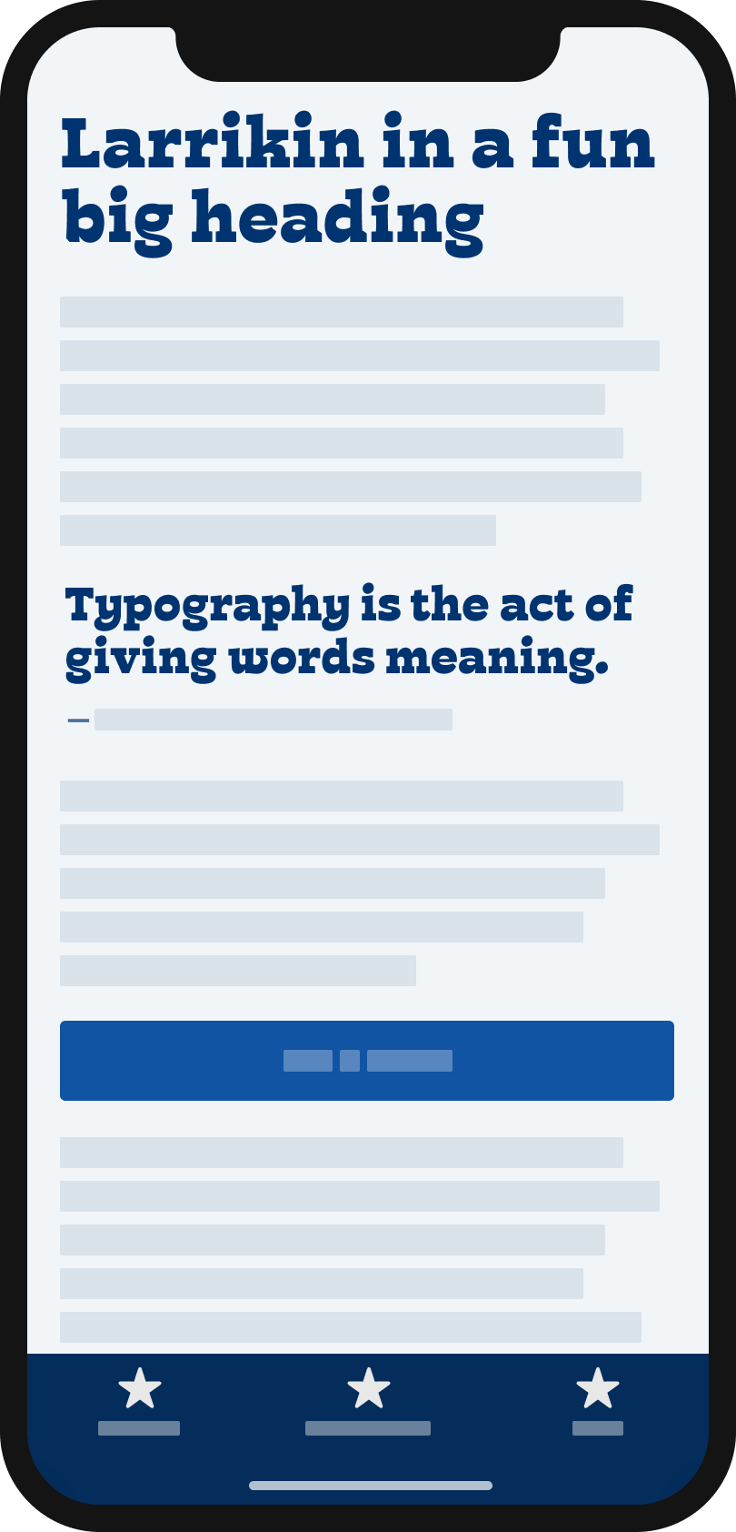 The goofy slab-serif display typeface Larrikin on a mobile phone in a headline and pull quote.
