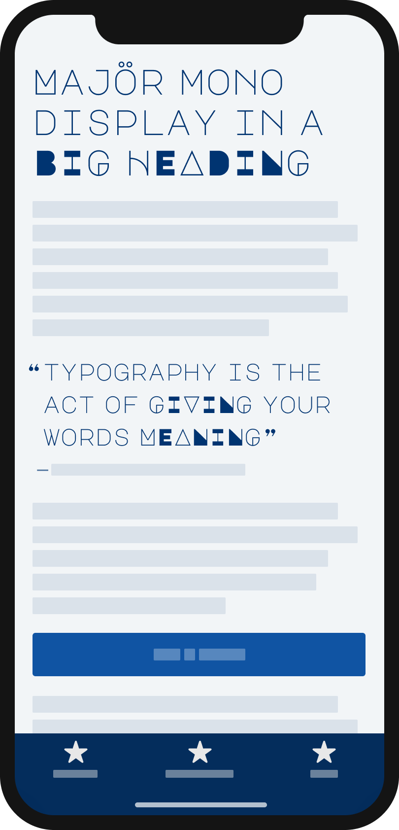 The geometric, light and all uppercase typeface Majöron a mobile phone in a headline and pull quote.