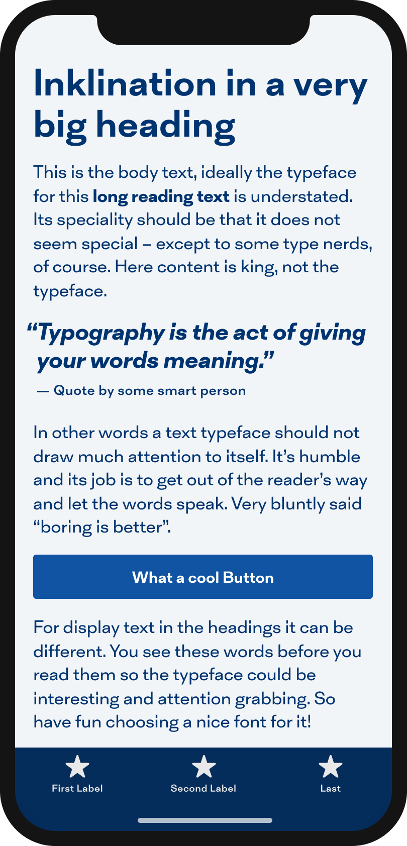 The sans-serif typeface Inklination on a mobile phone in a headline, body text, a pull quote and the labels of a button and navigation.