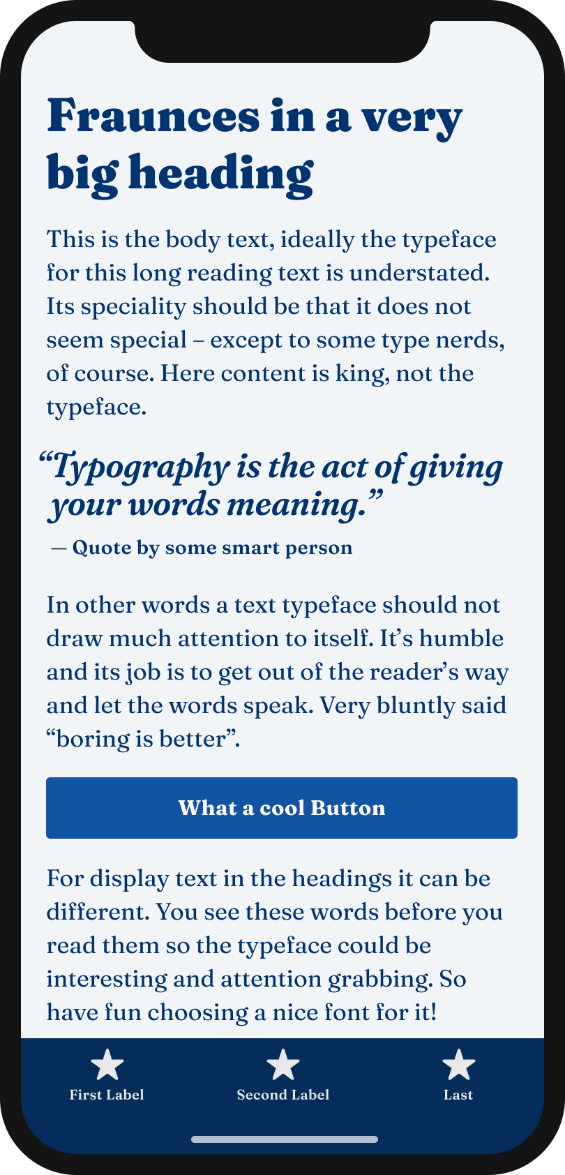 The soft serif typeface Fraunces on a mobile phone in a headline, body text, a pull quote and the labels of a button and navigation.
