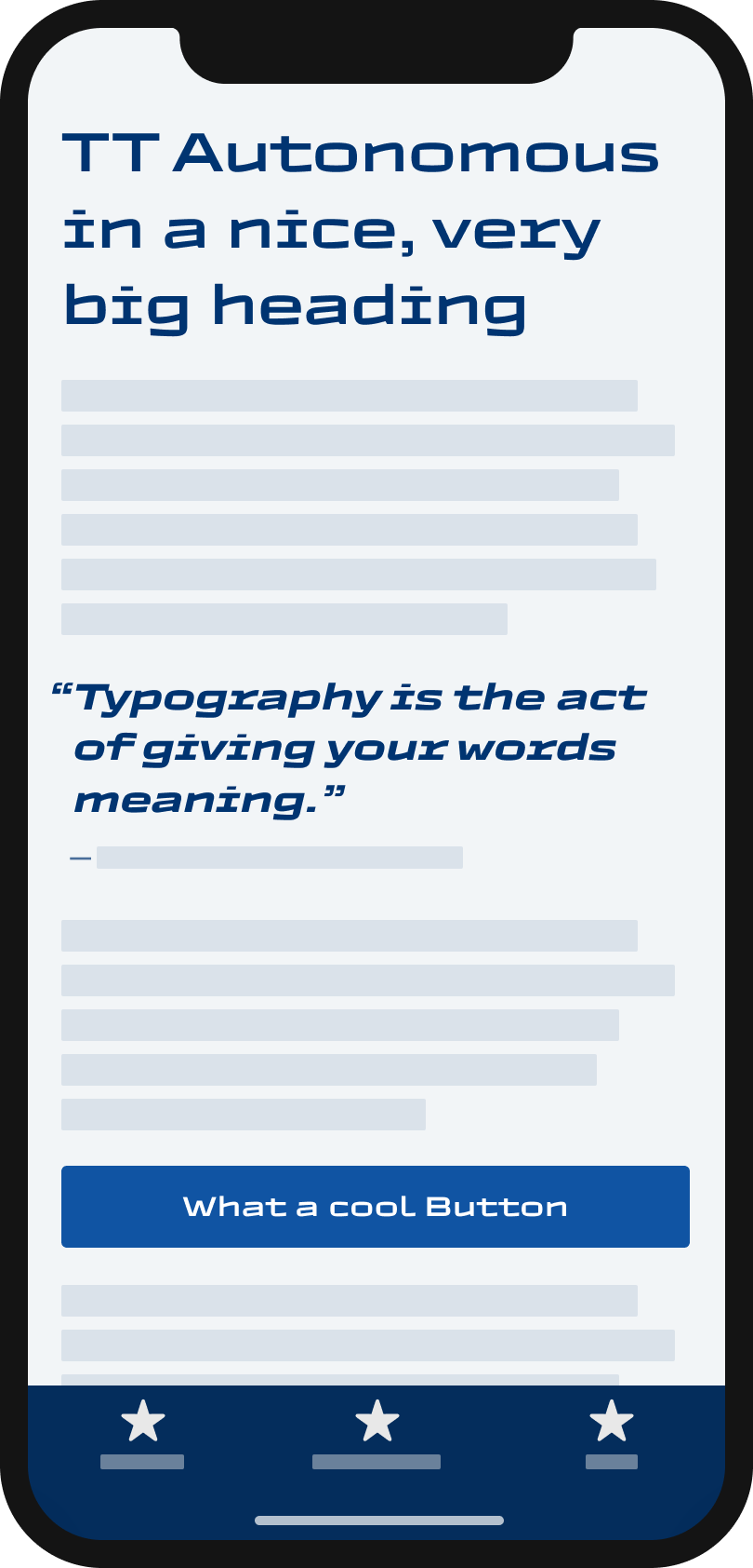 The super wiede, squarish display sans-serif typeface TT Autonomous on a mobile phone in a headline and pull quote and button.
