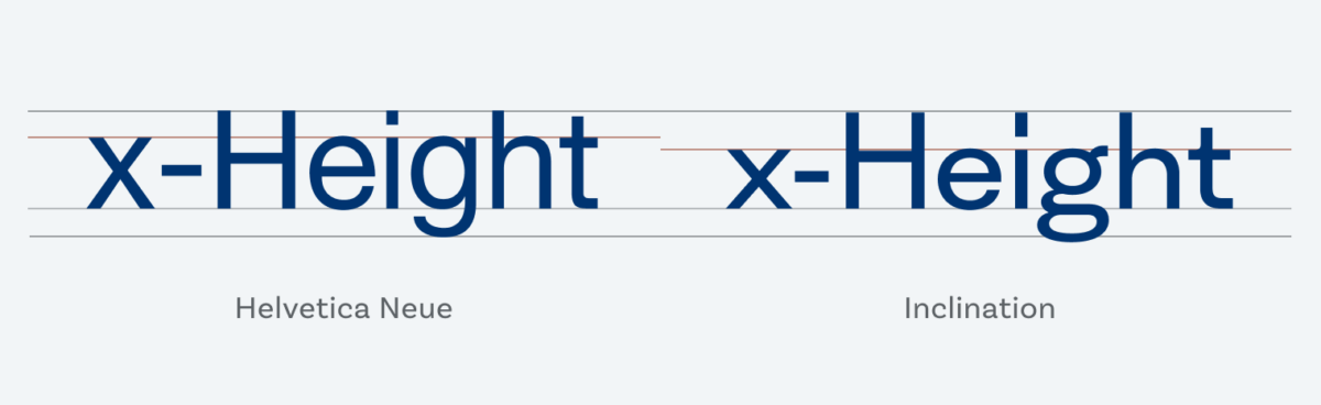 Comparing the x-height of Helvetica Neue and Inclination