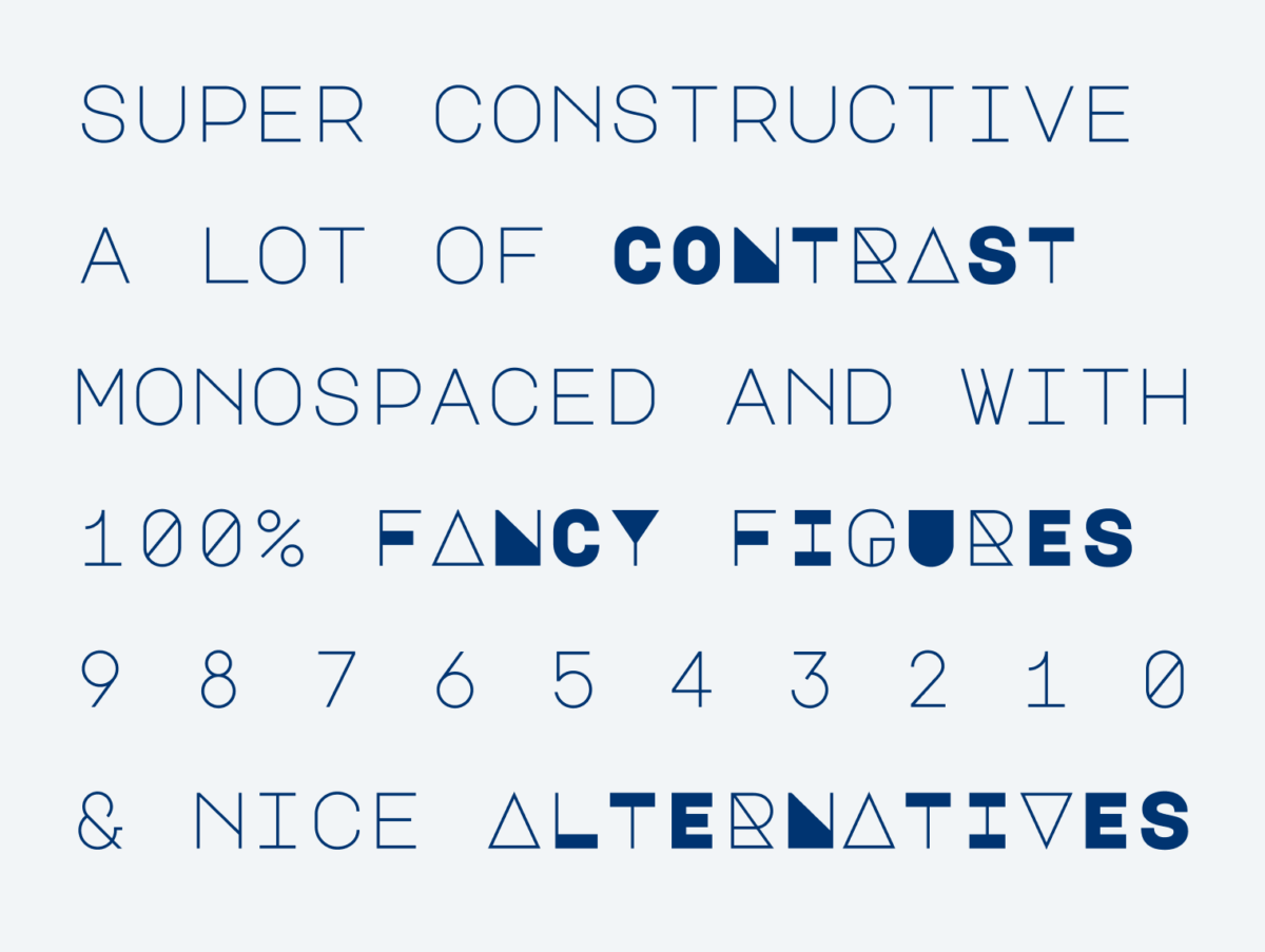 super constructive a lot of contrast monospaced and with 100% fancy figures 9 8 7 6 5 4 3 2 1 0 & nice alternatives.