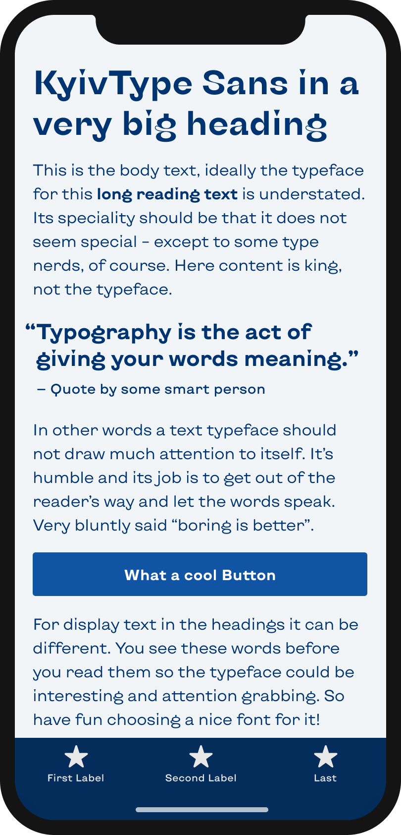 The sans-serif typeface KyivType Sans on a mobile phone in a headline, body text, a pull quote and the labels of a button and navigation.