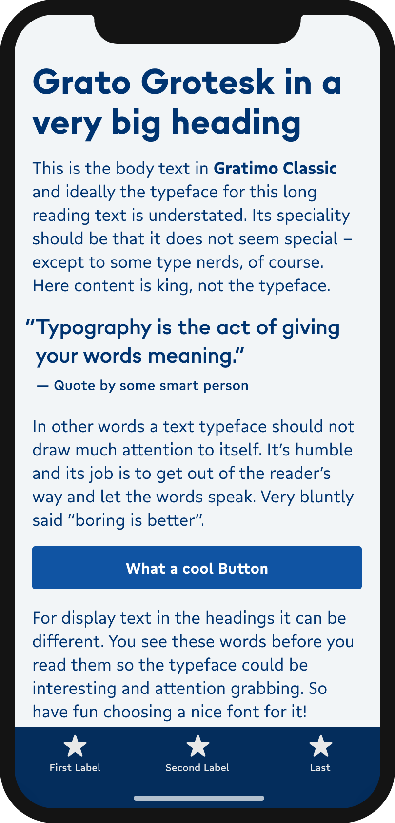 The geometric sans-serif typeface Grato Grotesk on a mobile phone in a headline and pull quote. The friendlier humanist typeface Gratimo Classic in body text, and Gratimo Grotesk in the labels of a button and navigation.