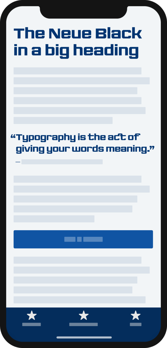 The sturdy sans-serif display typeface The Neue Black on a mobile phone in a headline and pull quote.