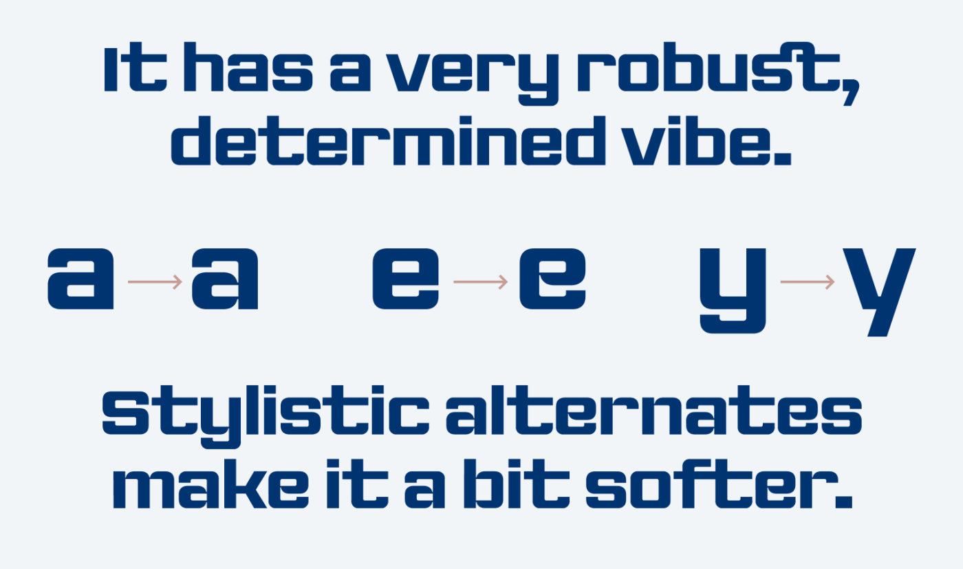 Showing The Neue Black, it has a very robust, determined vibe. Stylistic alternates make it a bit softer.
