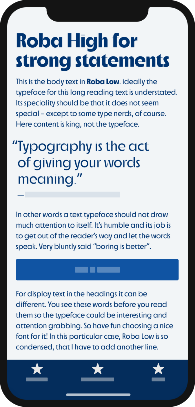 The contrasting display sans-serif typeface Roba High and Roba Low shown on a mobile phone in a headline, body text, and a pull quote.