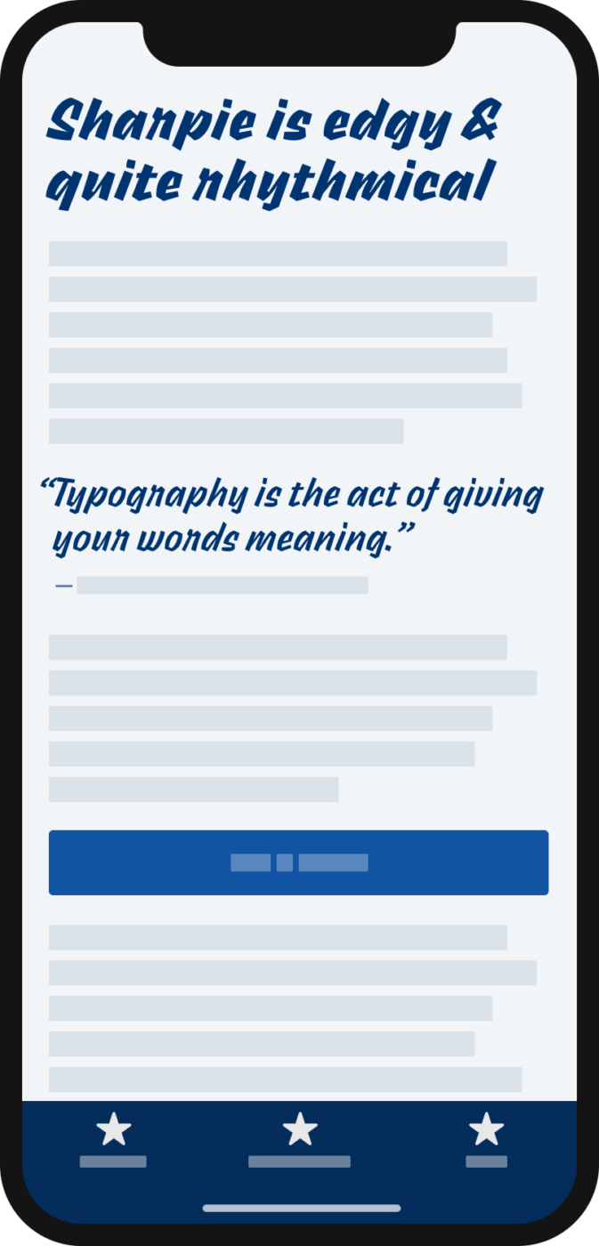 The handwritten display typeface Sharpie on a mobile phone in a headline and pull quote.