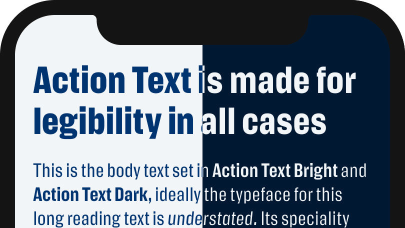 Action Text is made for legibility in all cases
