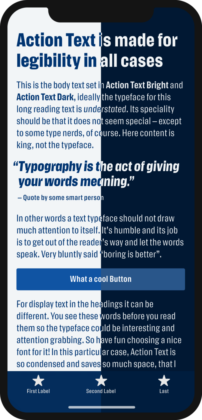 The narrow sans-serif typeface Action Text shown on a mobile phone in a headline, body text, a pull quote and the labels of a button and navigation, on light and dark background.