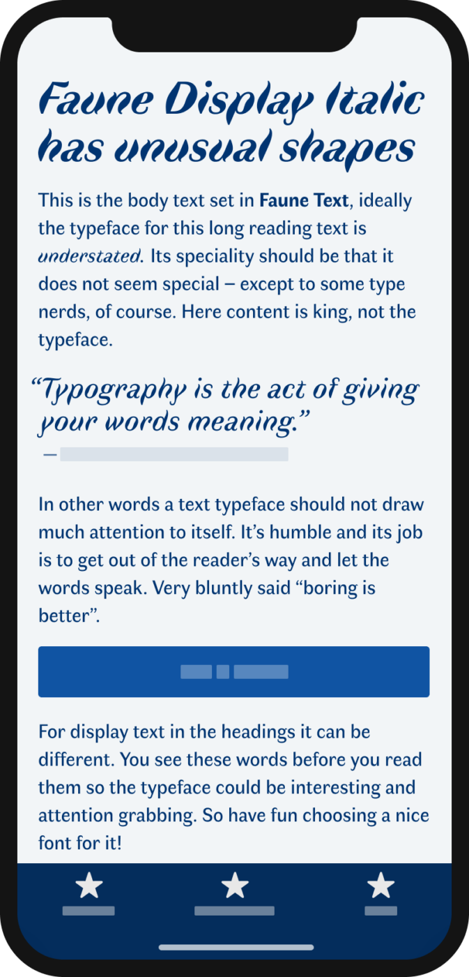 The wavy sans-serif typeface Faune Display Italic shown on a mobile phone in a headline, and a pull quote. The sans-serif typeface Faune Text in the body text.