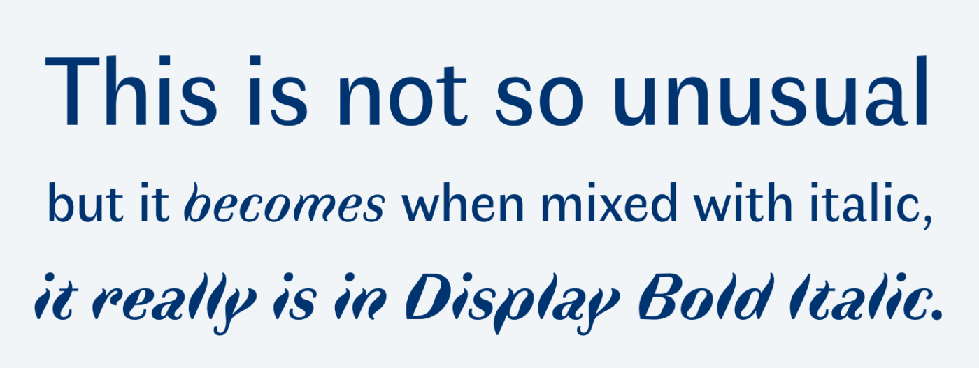 This is not so unusual, but it becomes when mixed with italic, it really is in Display Bold Italic.