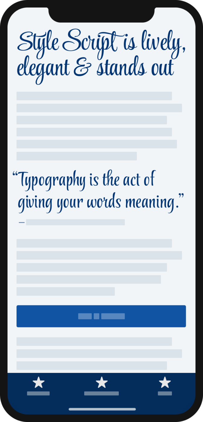 The lively and elegant script typeface Style Script in a heading and a pull quote on a mobile phone.